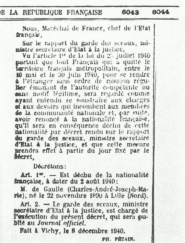 De Gaulle déchu de la nationalité française ...